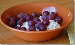 cottage cheese and grapes
