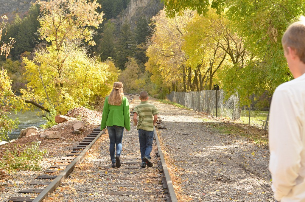 fall picture on railroad track