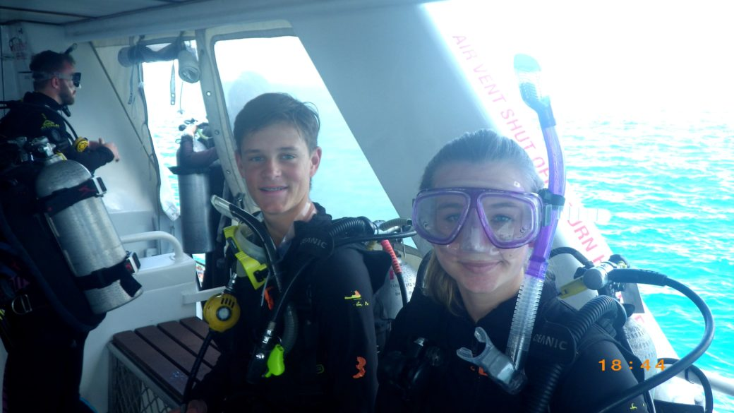 Erica and TJ diving the great barrier reef